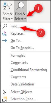 Find & Select menu