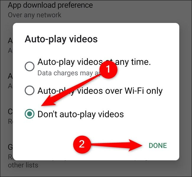 Google Play Store Tap Don't Auto-Play Videos and then Select the Done Button