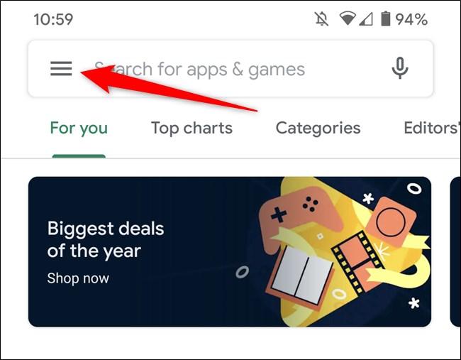 Google Play Store Tap Hamburger Menu Icon