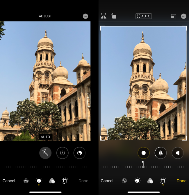 iOS 13 Photos editor comparison before and after adjustment
