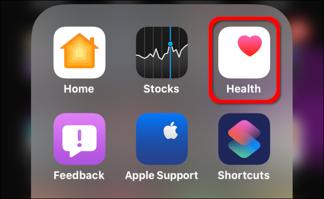 "Tap ""Health"" on your iPhone."