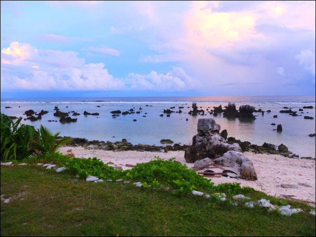 Coral rocks on Anibare beach in Nauru.