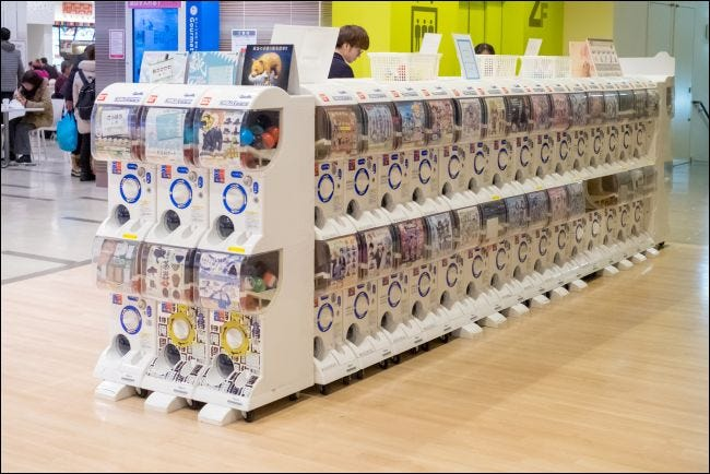 Gacha games in a mall in Sapporo, Japan.