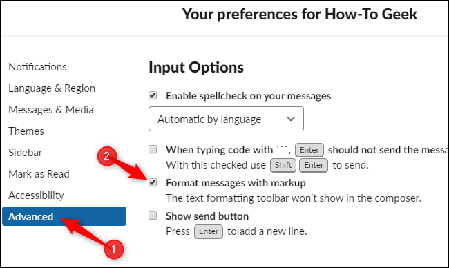 Enabling markup formatting and disabling the new editor toolbar in Slack