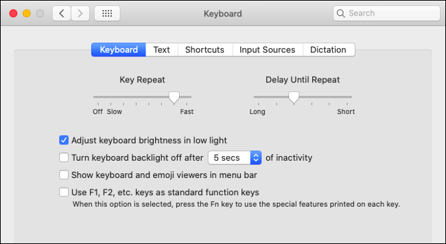 Set Keyboard Preferences in macOS