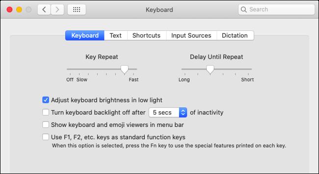 Set Keyboard Preferences in macOS