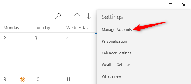 Managing accounts in Windows 10's Calendar app.