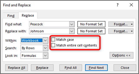 Match case and entire cell contents options