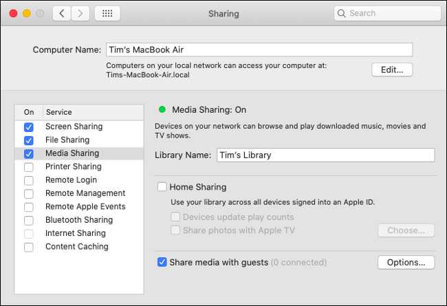 Set Up Media Sharing in macOS Catalina