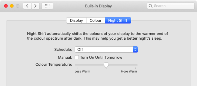 Enable Night Shift in macOS