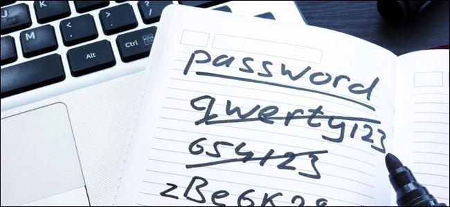 A piece of paper with handwritten passwords.