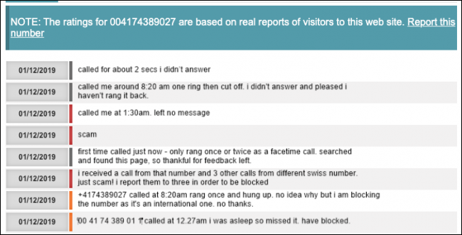 Feedback about a scam phone number found via a search engine.