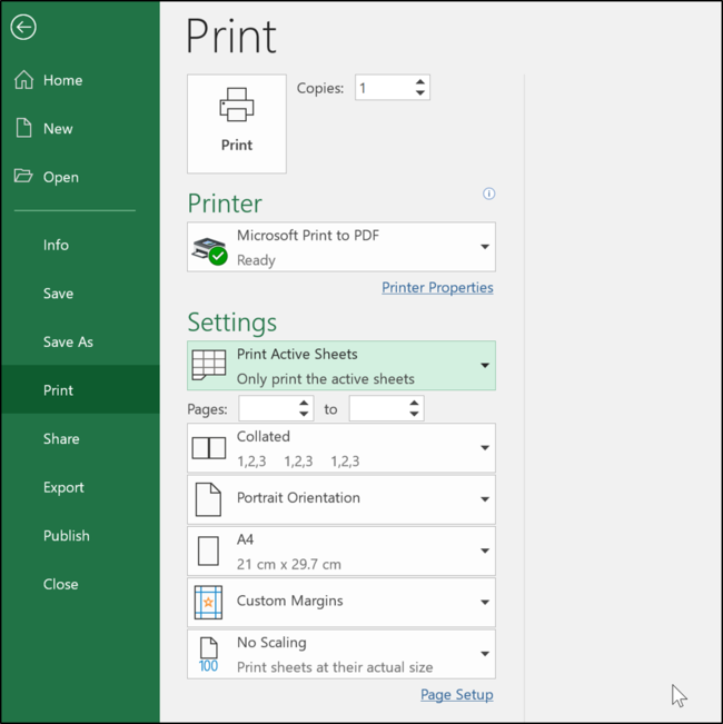Print settings in Excel
