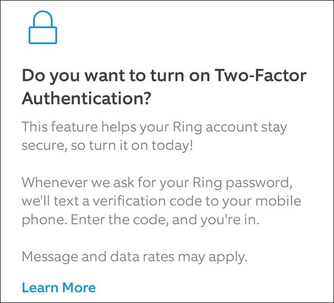 Ring App Read About 2FA and then Click Turn on Two-Factor Button