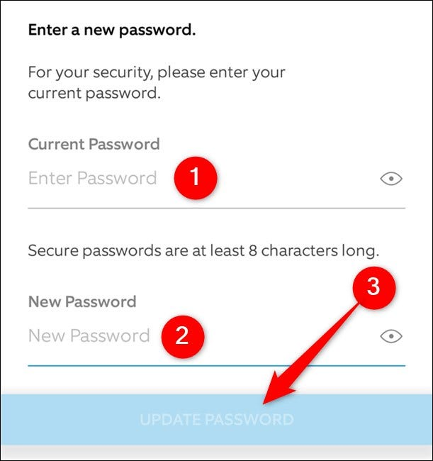 Ring Mobile App Enter Current and New Password. Tap Update Password Button
