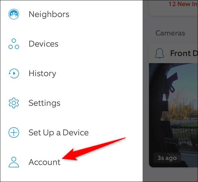 Ring Mobile App Tap Account
