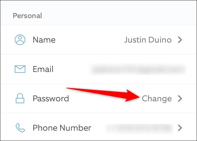 Ring Mobile App Tap Change Next to Password