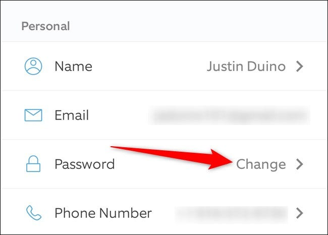 Ring Mobile App Tap Change Next to Password