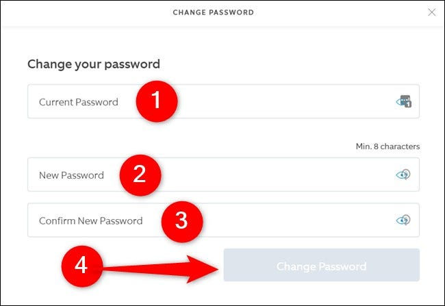 Ring Website Enter Old and New Passwords and then Click Change Password Button