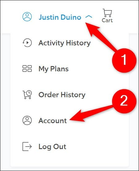 Ring Website Hover Over Name and then Click Account