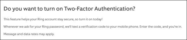 Ring Website Two Factor Authentication Info