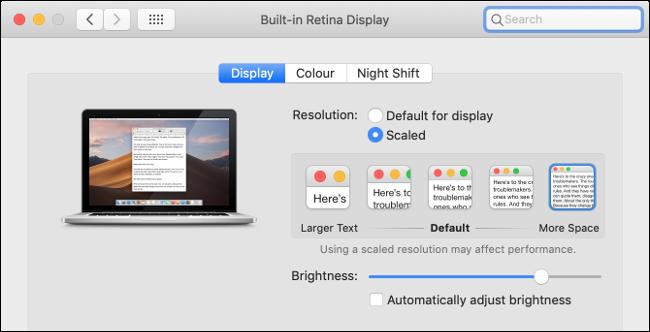 Set Display Scaling in macOS