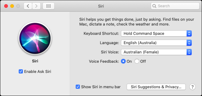 Customize Siri Preferences in macOS