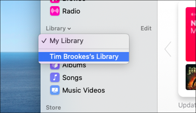 "Click the arrow next to ""Library"" to open the drop-down menu."