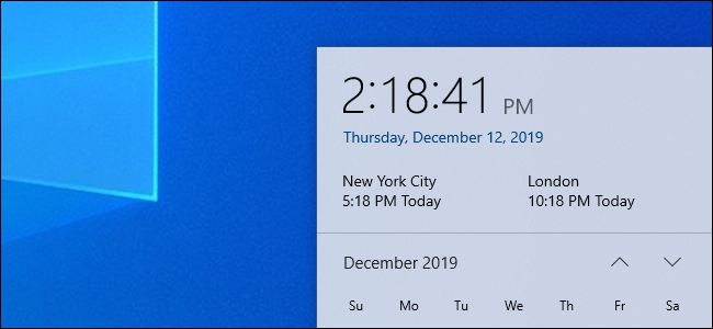 Multiple time zone clocks in Windows 10's clock panel.