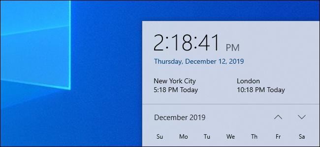 Multiple time zone clocks in Windows 10's clock panel.
