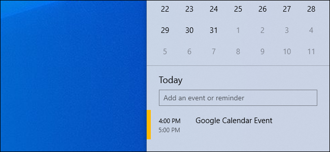 A Google Calendar event in Windows 10's taskbar calendar popup.