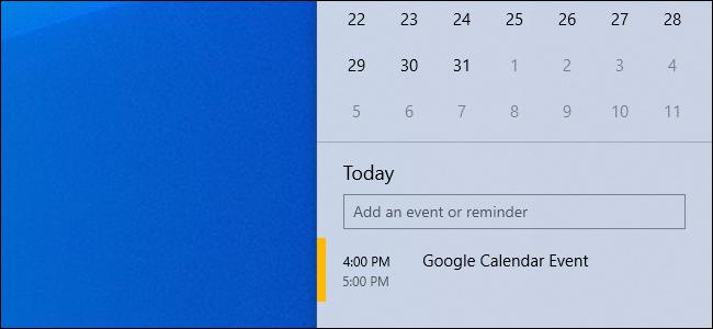 A Google Calendar event in Windows 10's taskbar calendar popup.