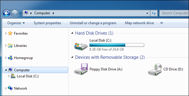 Windows 7's Computer pane showing a local disk.