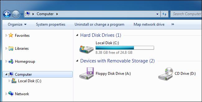 El panel de la computadora de Windows 7 muestra un disco local.
