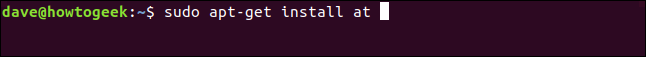 """The """"sudo apt-get install at"""" command in a terminal window."""