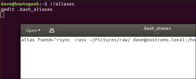 """An """"!?aliases"""" command in a terminal window."""