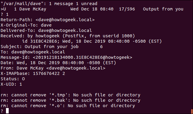An internal email in a terminal window.