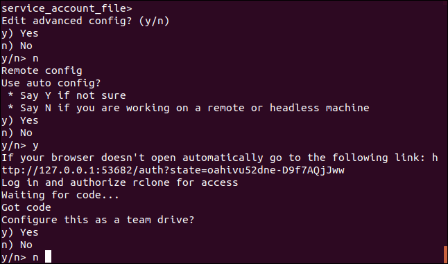 "The rclone ""configure this as a team drive"" prompt in a terminal window"