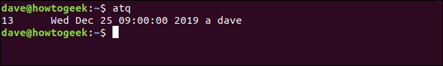 """Output from the """"atq"""" command in a terminal window."""