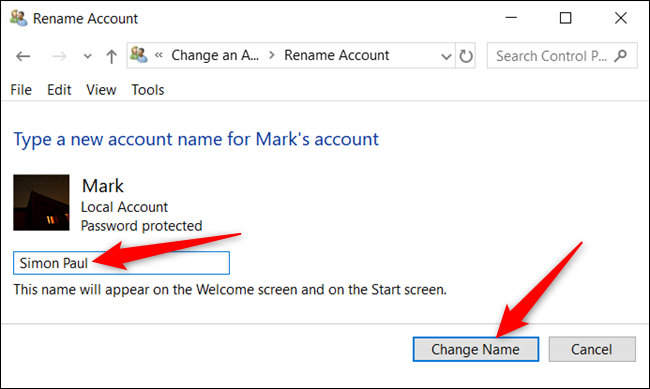 "Type in a new name and click ""Change name."""