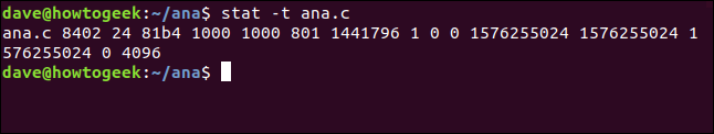 stat -t ana.c in a terminal window
