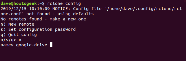 rclone menu to create a new remote, in a terminal window
