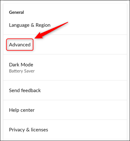 The Settings menu with the Advanced option highlighted