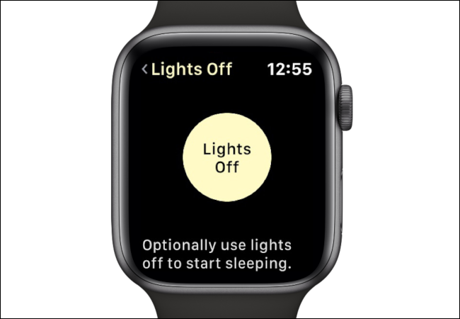 "The ""Lights Off"" option in the AutoSleep app on an Apple Watch."