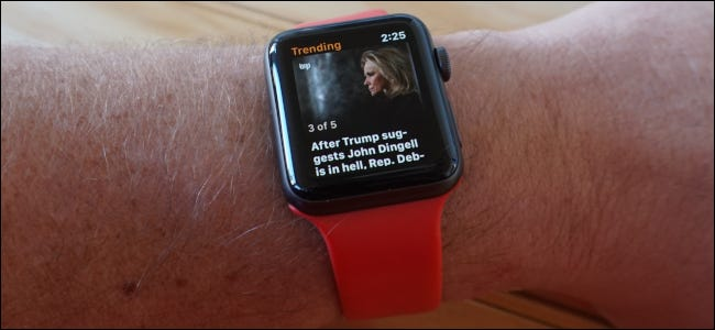The News App on an Apple Watch showing a news story