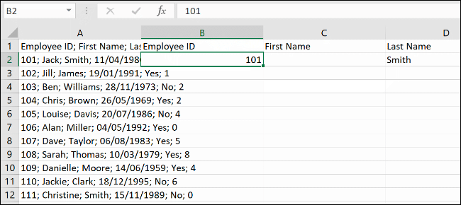 Data in Microsoft Excel, ready for the Flash Fill feature