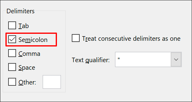 Text to Column Delimiter options in Microsoft Excel, with semicolon selected
