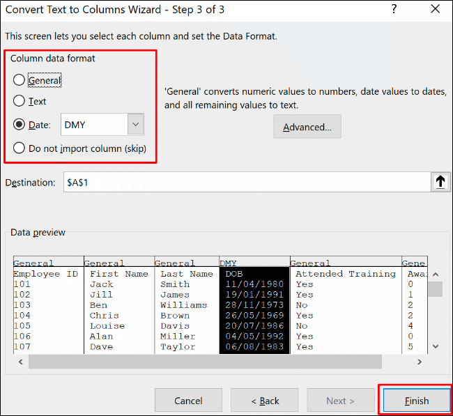 Confirm the column formatting options, then click Finish to confirm the Text to Column conversion process in Excel