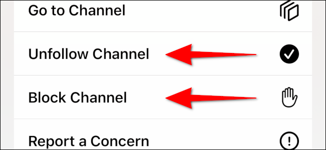 Block or Unfollow Channel from an article