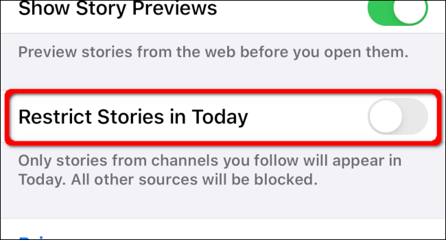 Tap the toggle to Restrict Stories in Today